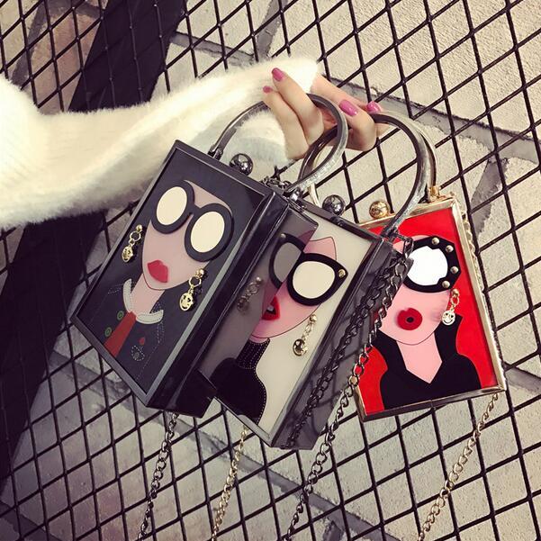 Hot Female Banquet Bag 2019 Fashion New Handbags Personality PU Leather Women Bag Acrylic Cartoon Chain Shoulder Messenger Bag