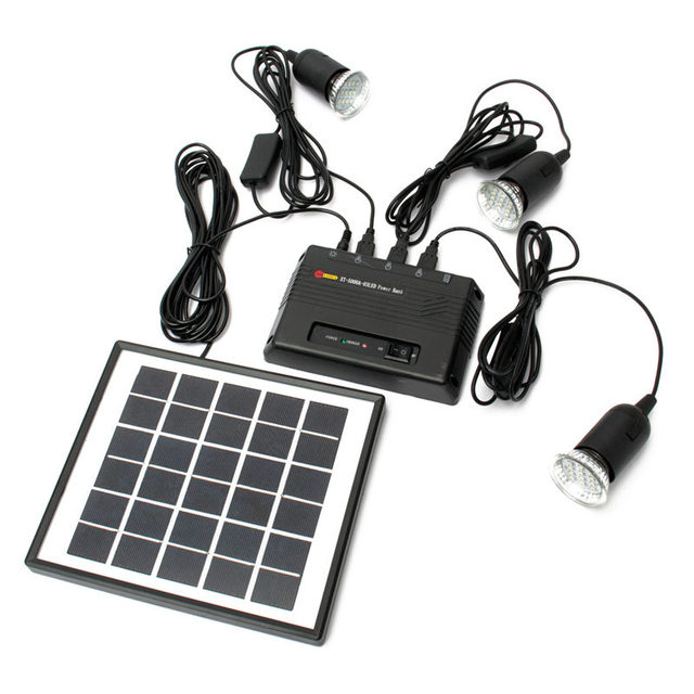 4W Solar Panel USB Charger with 3 LED Light Solar Energy Power Bank Home Garden for Countryard Camping Fishing Emergency