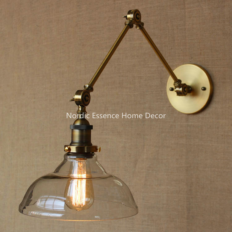 Nordic LOFT American country style designer lamp modern glass bronze hotel restaurant decorative wall sconce lamp lighting