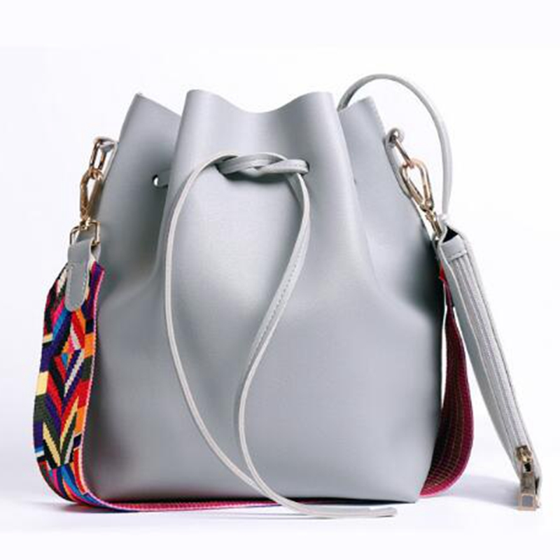 With Colorful Strap Bucket Bag Women PU Leather Shoulder Bags Designer Ladies Crossbody Messenger Bags L8-2