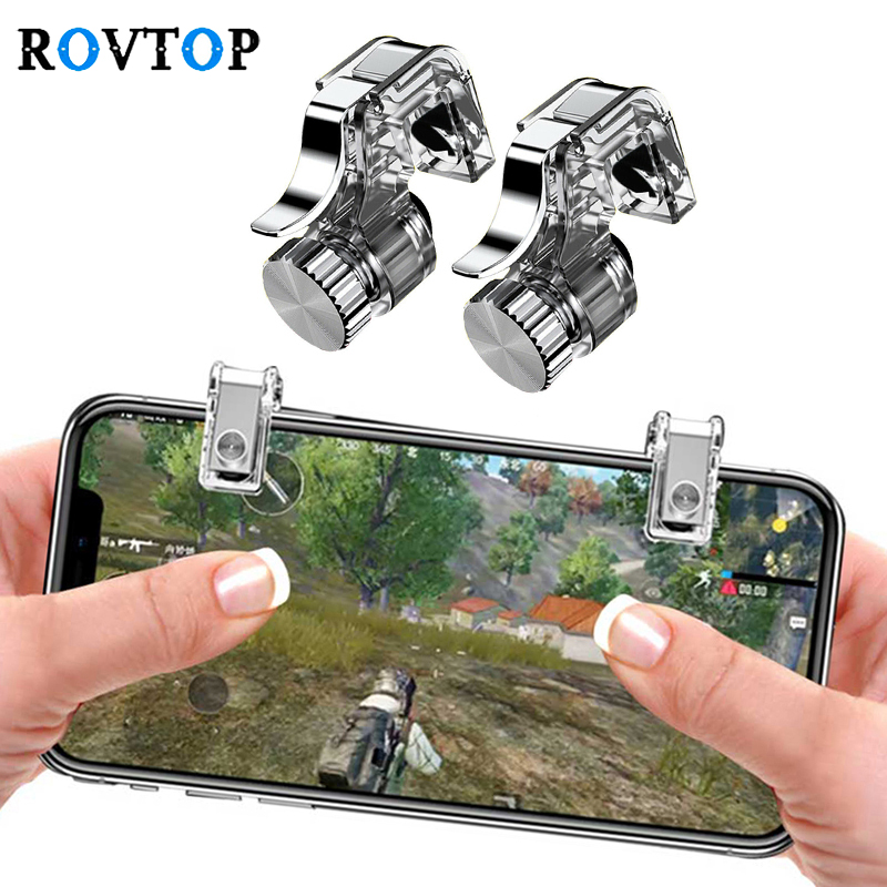Rovtop Metal Gamepad PUBG móvil gatillo Control inteligente Gamepad L1R1 de tirador para Iphone Android Z2