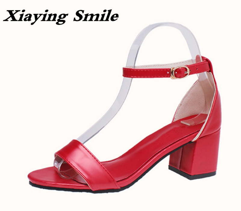 Xiaying Smile Summer Woman Sandals Fashion Women Pumps Square Cover Heel Buckle Strap Fashion Casual Concise Student Women Shoes xiaying smile new summer woman sandals shoes women pumps platform fashion casual square heel buckle strap open toe women shoes