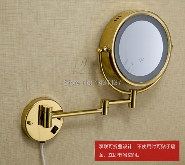 "high quality 8"" Double Side Bathroom Folding Mirror gold plating Wall Mounted Extend with Dual Arm1x3x Magnifying with LED"