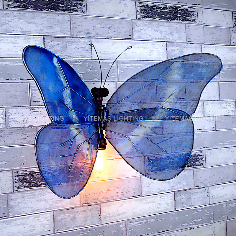 Unique butterfly wall lamp interior DIY wing adjustable and foldable wall sconce funky industrial iron wall light fixtures E27 LED Indoor Wall Lamps     - title=
