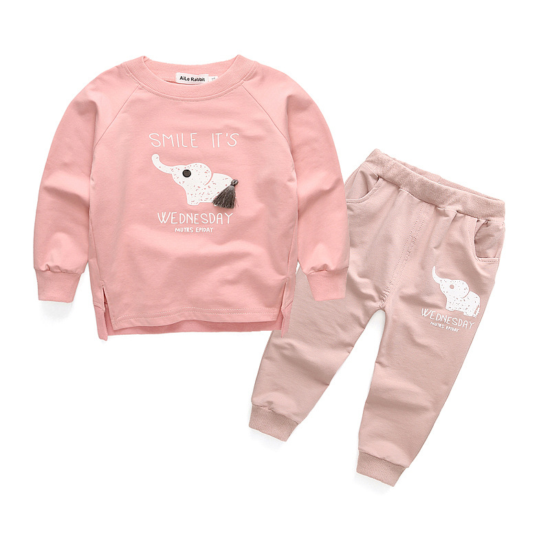 The boys and girls sports suit 2016 Hitz elephant stamp set of two childrens wear long sleeved sweater trousers