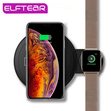ELFTEAR Qi Wireless Charger Dual charging for Apple Watch and phones and Airpod Fast Wireless Charging For iPhone X 7 6 Samsung(China)