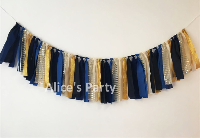 new baby shower rag tie banner boys birthday party bunting kids 1st