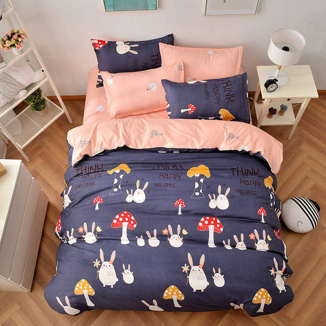 Rabbit With Mushroom Print Bedding Sets Comforter Quilt Duvet Covers Single Twin Full Queen King Size Babys Girls Childrens Bed