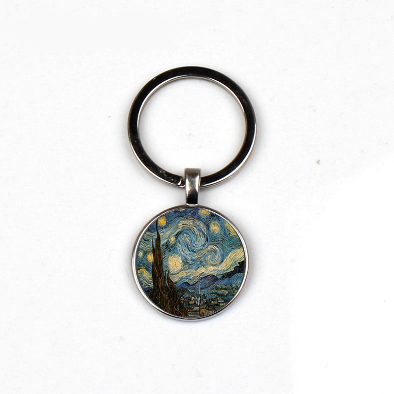 Retro Charm Starry Night Keyrings Moonlight Night Glass Men Women Keychains Vincent Van Gogh High Car Best Friends Souvenir Gift