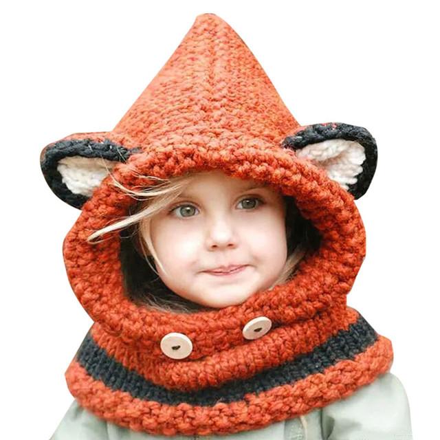2016 nueva hot cat fox oído invierno a prueba de viento sombreros del bebé y bufanda Set Para Niños Niños Niñas Shapka Tapas Para Niños Gratis gratis
