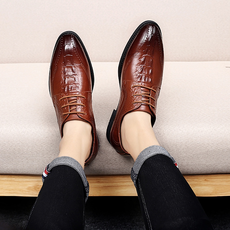 Calzado Cuero Zapatos Los Elegante Black Hombre Negro Formal Y De brown Boda Para Hombres Oficina Vestir Genuino Marrón Clásico Fiesta qIIzwF4