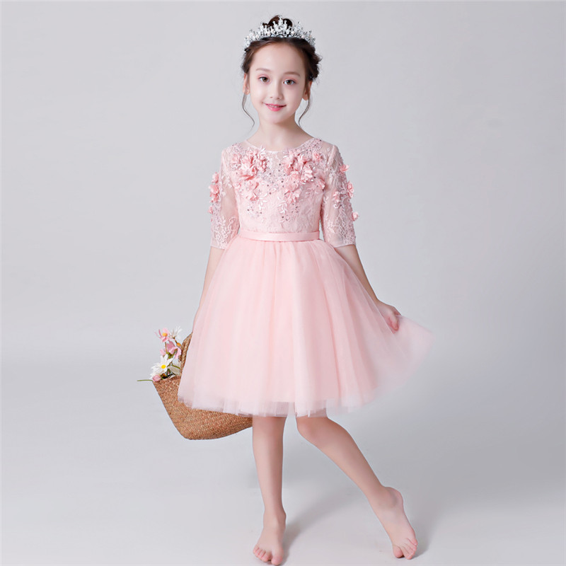 Autumn Baby Girls Dress Half-sleeves Pink Infant Dress For Baptism Christening First Birthday Wedding Party Toddler Girl Clothes 2017 summer newborn formal dress purple sleeveless infant baptism ball gown dress clothes for toddler girl first birthday party
