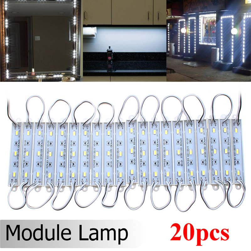 20PCS LED Module Lighting 3 SMD 5730 Waterproof IP65 White LED Strip <font><b>Advertising</b></font> Light Decorative Mirror Lamp DC12V image