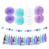 Nicro13Pcs混合薄紫青白パーティーティッシュペーパー花タッセル花輪diy洗礼結婚式パーティーの装