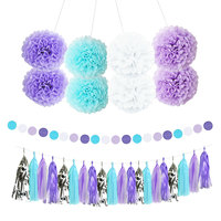 Nicro13Pcs Mixed Light purple Blue White Party Tissue Paper Flowers Tassel Garland DIY Baptism Wedding Party Decorations