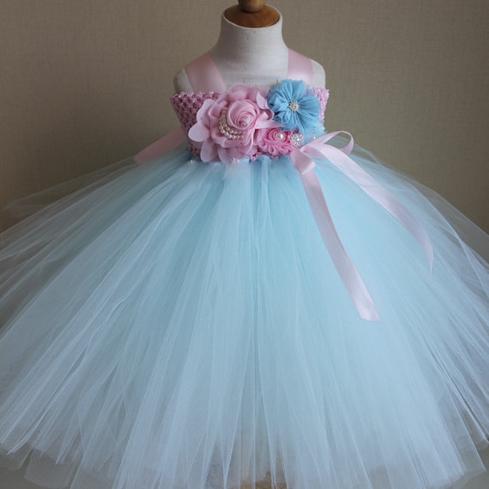 Princess Aqua Blue Flower Girls Dresses Pink Blue Kids Tutu Dresses ...