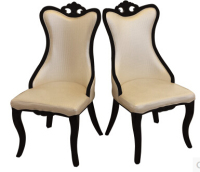 European style chair. Soft packages nail chair. White PU leather solid wood dining chair