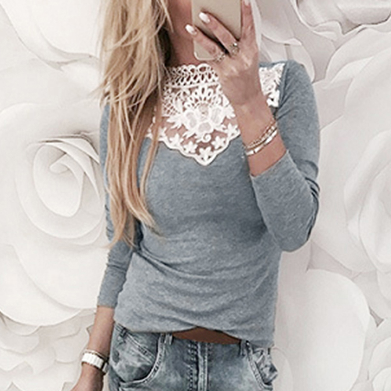 Women Long Sleeve Lace Patchwork T-shirt 2018 Spring Autumn Female Sexy Tshirt Tops Gray Pink Crew Neck Elegant Slim Tee Shirt