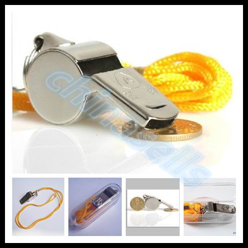 20pcs metal basketball volleyball soccer whistles referee whistle stainless stells cheerleading sports whistle with lanyard in Soccers from Sports Entertainment