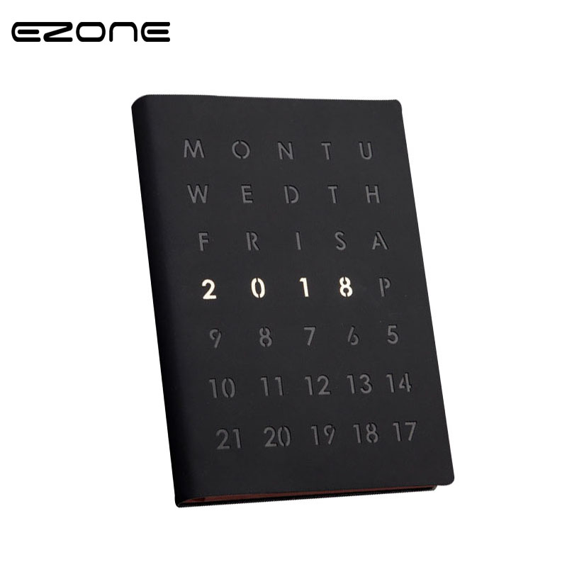 EZONE 2018 Agenda A5 Notebook With Pen Calendar Yearly Diary Daily Monthly Planner Organizer Black/White PU Cover Note Book Gift creative art fashion a6 journal planner book weekly monthly daily page blank paper pu leather diary notebook gift free shipping