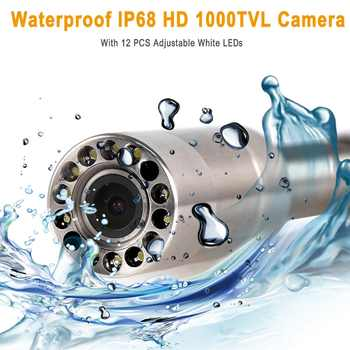"""SYANSPAN 20/50/100M Pipe Inspection Video Camera, 8GB TF Card DVR IP68 Drain Sewer Pipeline Industrial Endoscope with 9\"""" Monitor"""