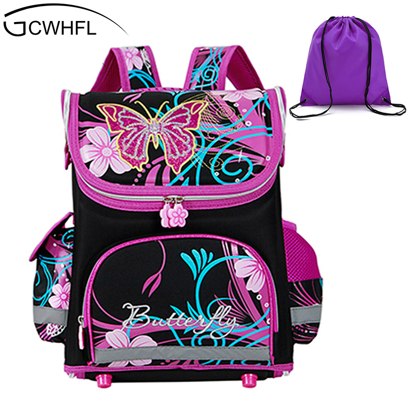 GCWHFL Children School Bags Girls Orthopedic Butterfly Design Princess School font b Backpack b font font