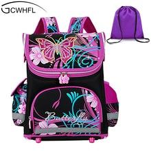 GCWHFL Niños Mochilas escolares Niñas Ortopédica Diseño de La Mariposa Princesa Niños Morral de La Escuela de La Taleguilla Mochila Mochila Infantil