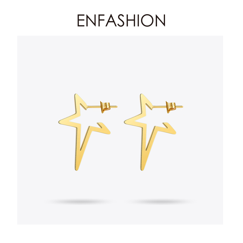 Enfashion Star Earrings Punk Stud Earring Rose Gold Color Earings Rvs Oorbellen Voor Vrouwen Sieraden Groothandel