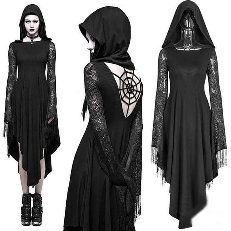 ImilyBela <font><b>Gothic</b></font> Hoodie Dress Long Sleeve Lace Splicing High Waist Dress Black Hollow Out <font><b>Halloween</b></font> <font><b>Sexy</b></font> Party Vestidos 5xl image
