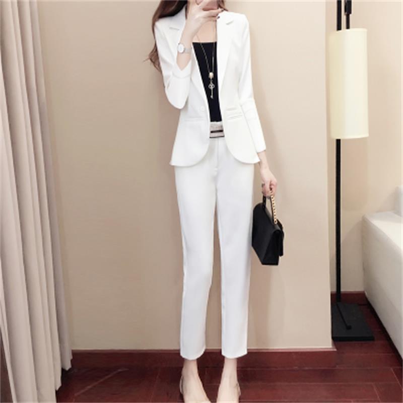 Fashion Pants Suits Female New High end plus size White suit suit femininity summer two piece suit women gift belt crop top XXL