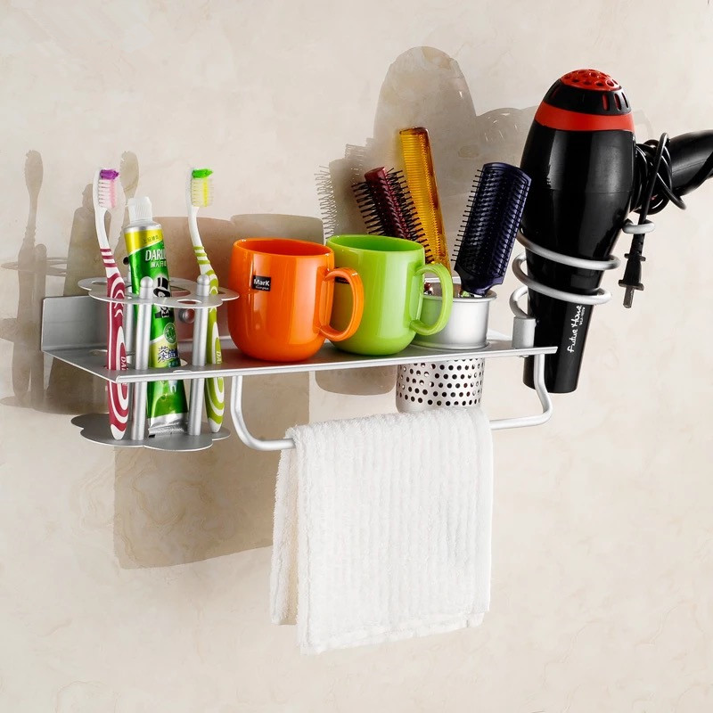 Space aluminum Bathroom shelf with toothbrush holder with single cup hair dryer rack Households Rack Hair Blow Dryer Holder bathroom home practical space aluminum hair dryer rack