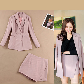 Womens suits summer new Korean casual slim stripes small suit jacket fashion half-length mini skirt two-piece 2019