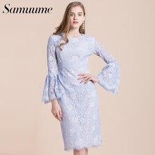 ffd8304baa9 Samuume Elegant Long Sleeve Party Dresss Women New High Waist Pencil Dress  Bodycon Office Lady Lace Dress Summer Dress S1712327