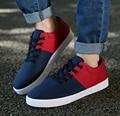 2016 Listagem do Novo Patchwork Cor Misturada dos homens Sapatos Casuais Sapatos de Lona Par Sapatos Respirável Plana Lace-up Sapatos Alpercatas