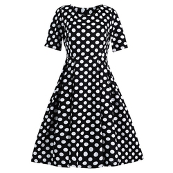ROPALIA Elegant Vintage Womens Polka Dot Belted Tunic Pinup Wear To Work Office Casual Party A Line Dress 1
