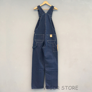 Image 2 - Bob Dong 40s Three In One Wabash Striped Overalls Vintage High Back Denim Pants 40s Retro Trousers