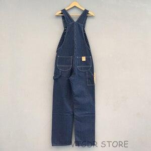 Image 2 - Bob Dong 40s trzy w jednym pasiaste kombinezony w stylu Vintage z wysokim oparciem spodnie dżinsowe 40s spodnie Retro