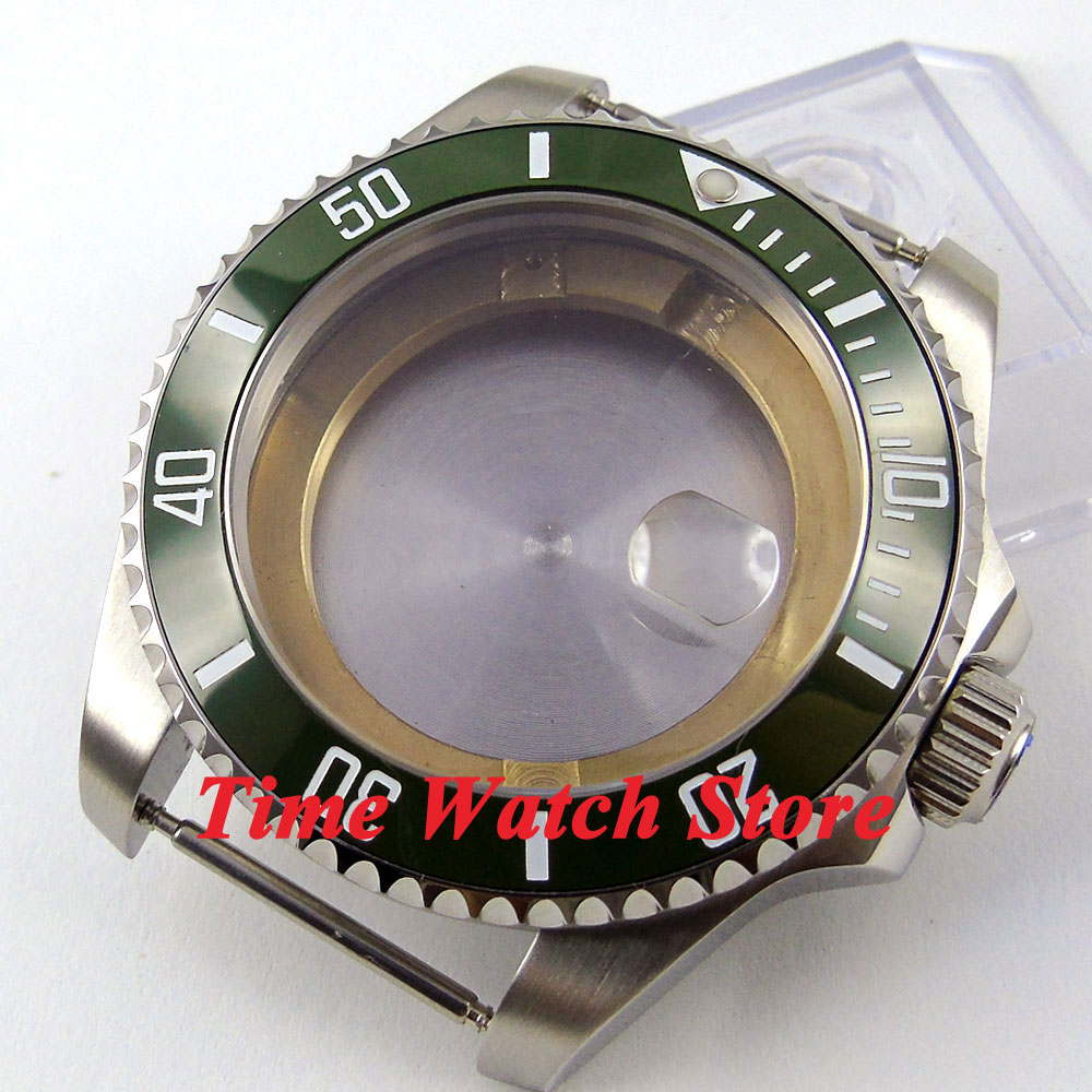лучшая цена 43mm Sapphire glass green ceramic bezel stainless steel Watch Case fit ETA 2824 2836 movement 48