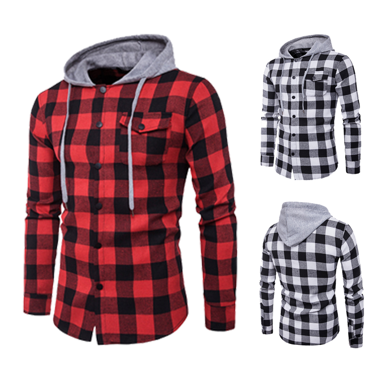 Shirt Casual Men Featuring Large Plaid Fashionable Hooded Chest Pockets Adorn Men's Casual Hooded Shirt Fashion Shirt Men
