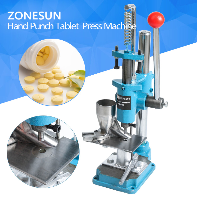 ZONESUN Customized Medicine Punching Machine Bule color Manual Tablet Punch Desktop Equipment For Laboratory Making