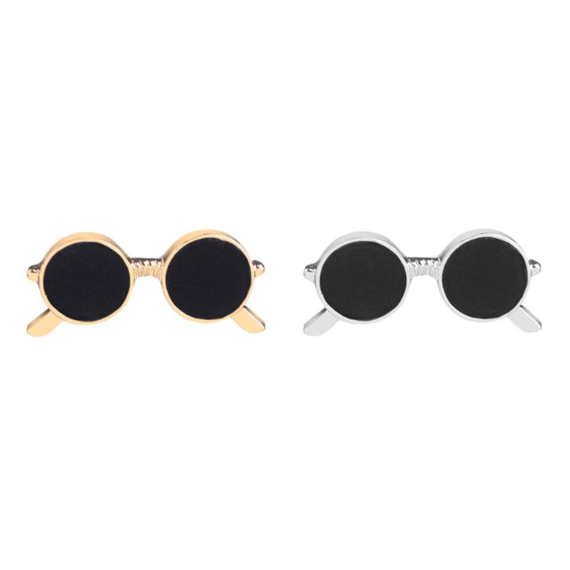 Mini sunglasses brooch unisex fashion popular party suit shirt decoration alloy pin cartoon drop oil gold and silver glasses pin 2