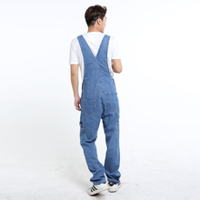 2018 Fahsion Men's Casual Loose Pocket Overalls Comfortable Denim Jumpsuits Plus Big Size Jeans for Man Blue Pants