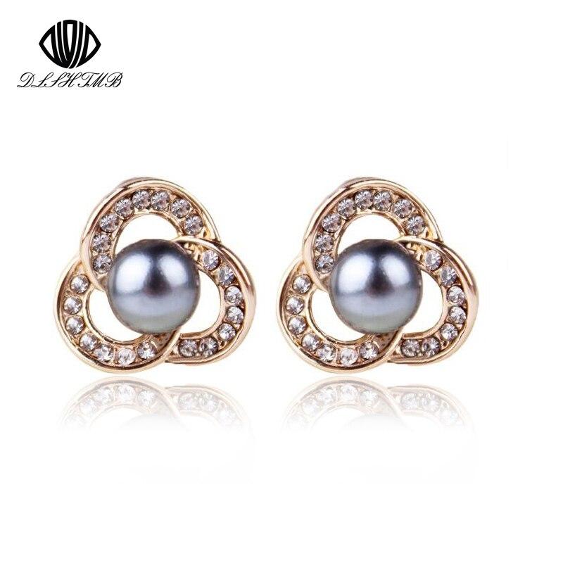 2017 New Fashion Gold Plating Flower Earrings Lucky Imitation White/Gold/Black Pearl Stud Earrings Women Fine Jewelry