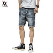 2019 Summer New Men's Denim Shorts Retro  Fashion Slim Fit Elastic Cotton Blue Wash Ripped Jeans Male Brand Clothes  bermuda