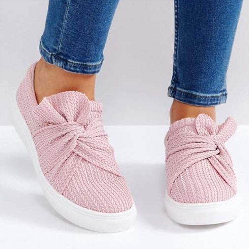 Women Ladies shoes Solid Fashion Bowknot Casual Loafers Roman Butterfly-knot Cloth Shoeszapatos de mujerbuty damskie summer bowknot sneakers
