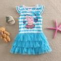 new 2017 summer children clothing baby girls dress princess cotton cartoon pig striped short sleeve lace dresses kids dress