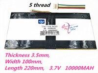 5 스레드 35100220 태블릿 pc 배터리 용량 35100110*2 3.7 v 10000ma 태블릿 pc 용 범용 리튬 이온 배터리 8 인치 9 인치 10 인치