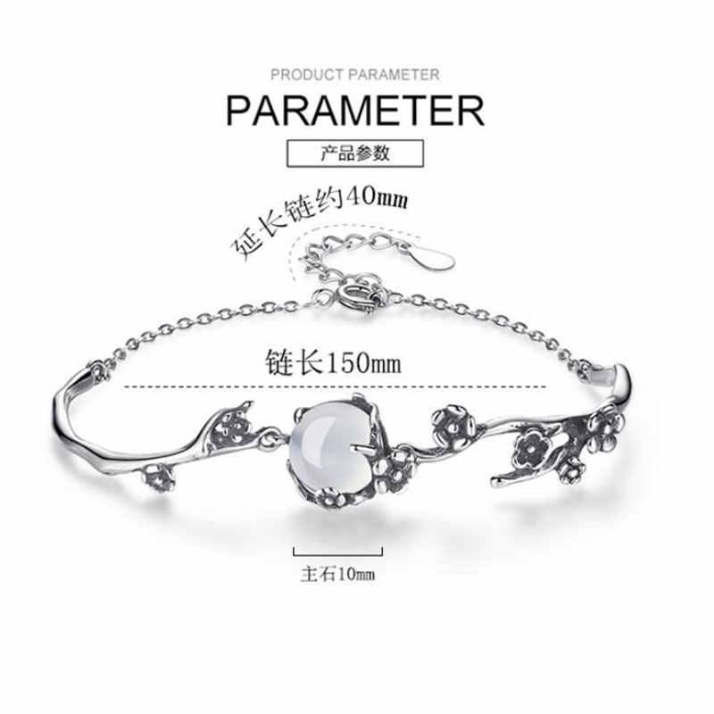 Anenjery VINTAGE แฟชั่นเงินสร้อยข้อมือแสงจันทร์สีขาวหินพลัมดอกไม้ 925 เงินสเตอร์ลิงสร้อยข้อมือ pulseira S-B160