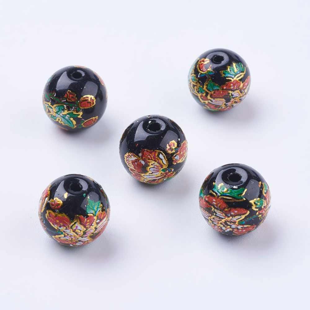 Pandahall 5 pc 花塗装ラウンドのためのジュエリー & アクセサリーの検索作るブレスレットアンクレットサイズ: 10 ミリメートル