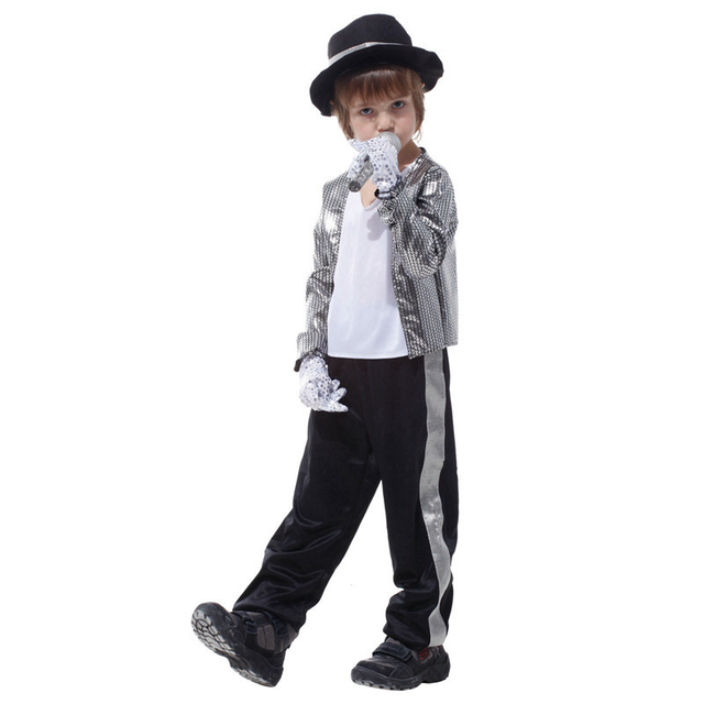 Free shipping!!Acting Super Star Michael Jackson Plays Suit Costumes Halloween Costume Party Princes Boy Silver Shiny Cloth